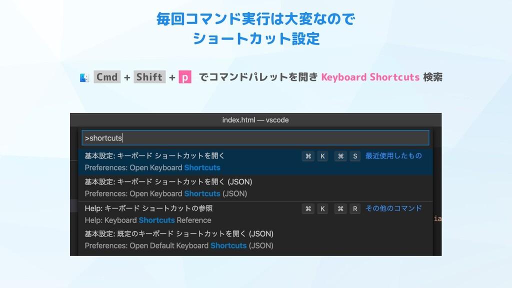 Cmd + Shift + p :でコマンドパレットを開き Keyboard Shortcut...