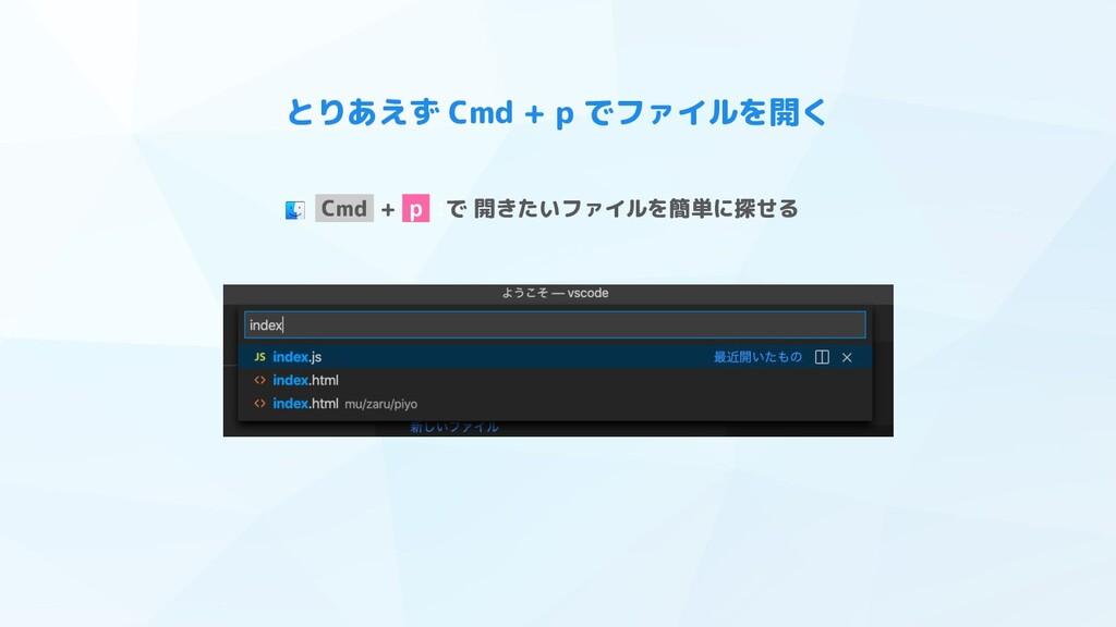 とりあえず Cmd + p でファイルを開く Cmd + p :で 開きたいファイルを簡単に探...
