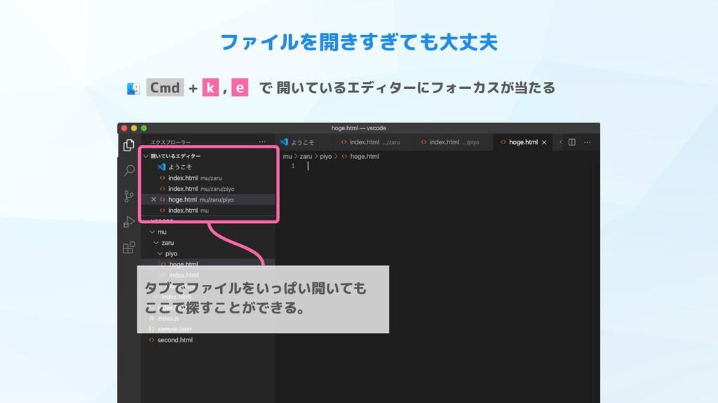 ファイルを開きすぎても大丈夫 タブでファイルをいっぱい開いても ここで探すことができる。 Cm...
