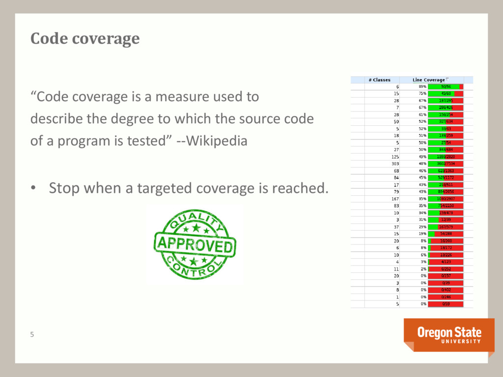 """5 Code coverage """"Code coverage is a measure use..."""