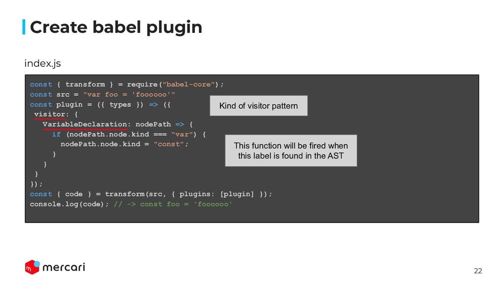 22 Create babel plugin index.js const { transfo...