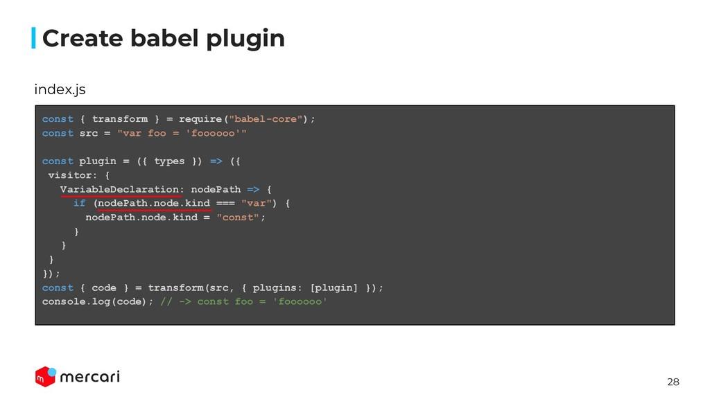 28 Create babel plugin index.js const { transfo...