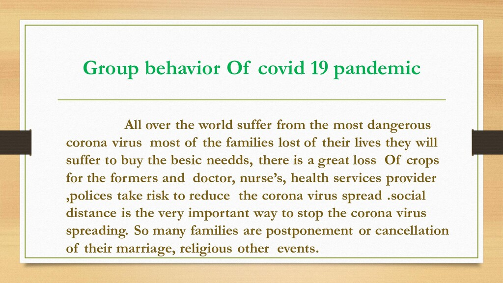 Group behavior Of covid 19 pandemic All over th...