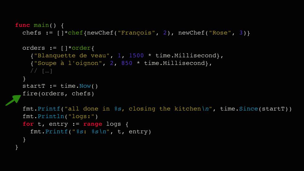 "func main() { chefs := []*chef{newChef(""Françoi..."