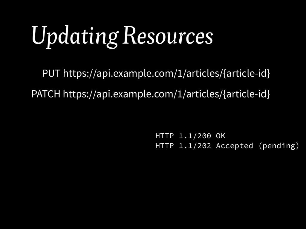 Updating Resources PUT https://api.example.com/...