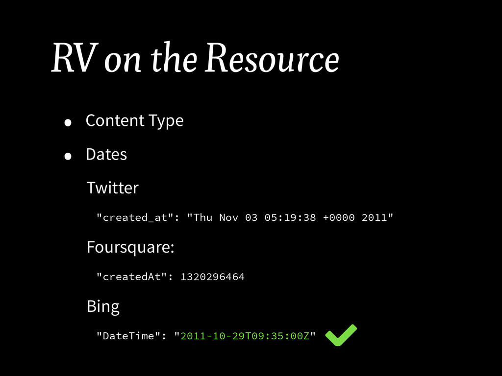 RV on the Resource • Content Type • Dates Twitt...
