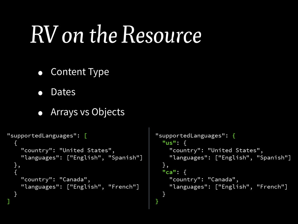 RV on the Resource • Content Type • Dates • Arr...