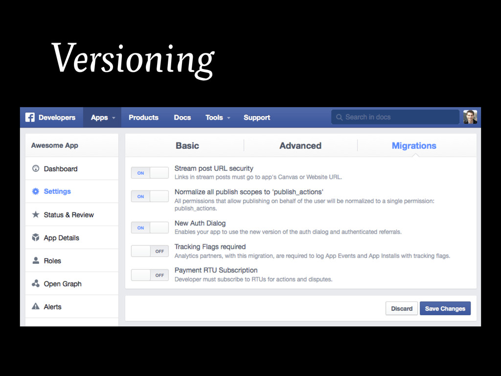 Versioning • Have it. in the URL. • Prevent it....
