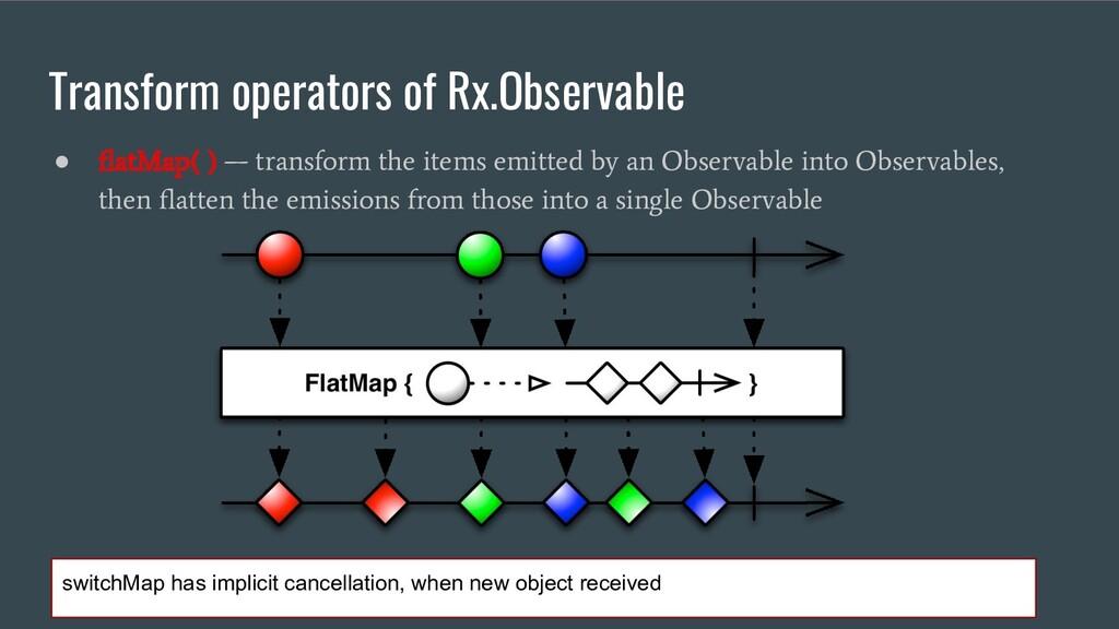 Transform operators of Rx.Observable ● flatMap( ...