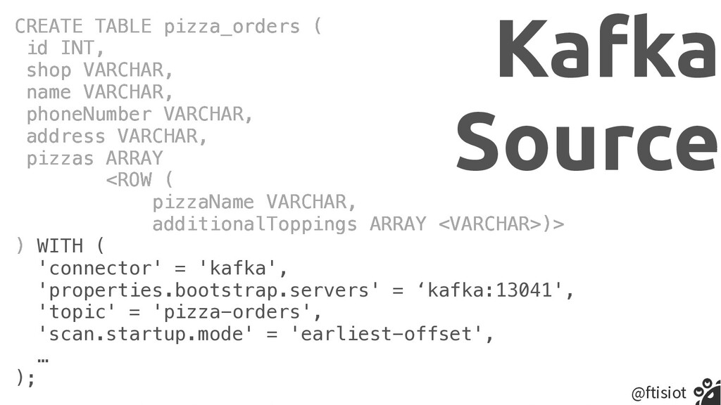 @ftisiot CREATE TABLE pizza_orders (   id INT, ...