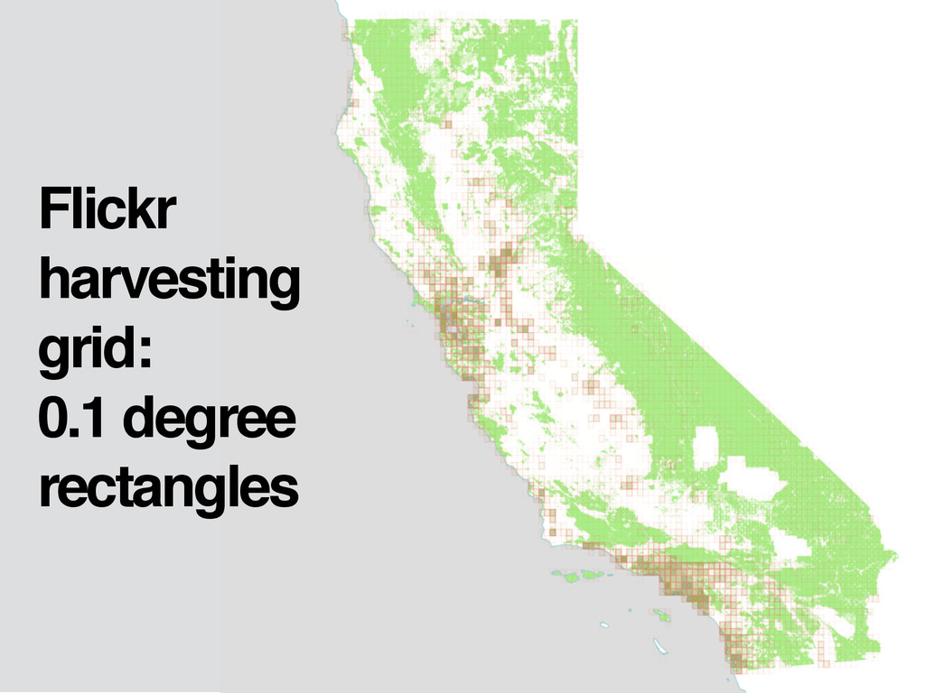 Flickr harvesting grid: 0.1 degree rectangles
