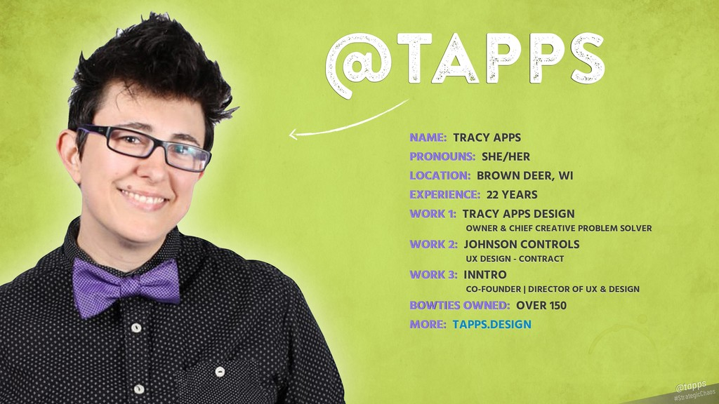 #StrategicChaos @tapps @tapps NAME: TRACY APPS ...