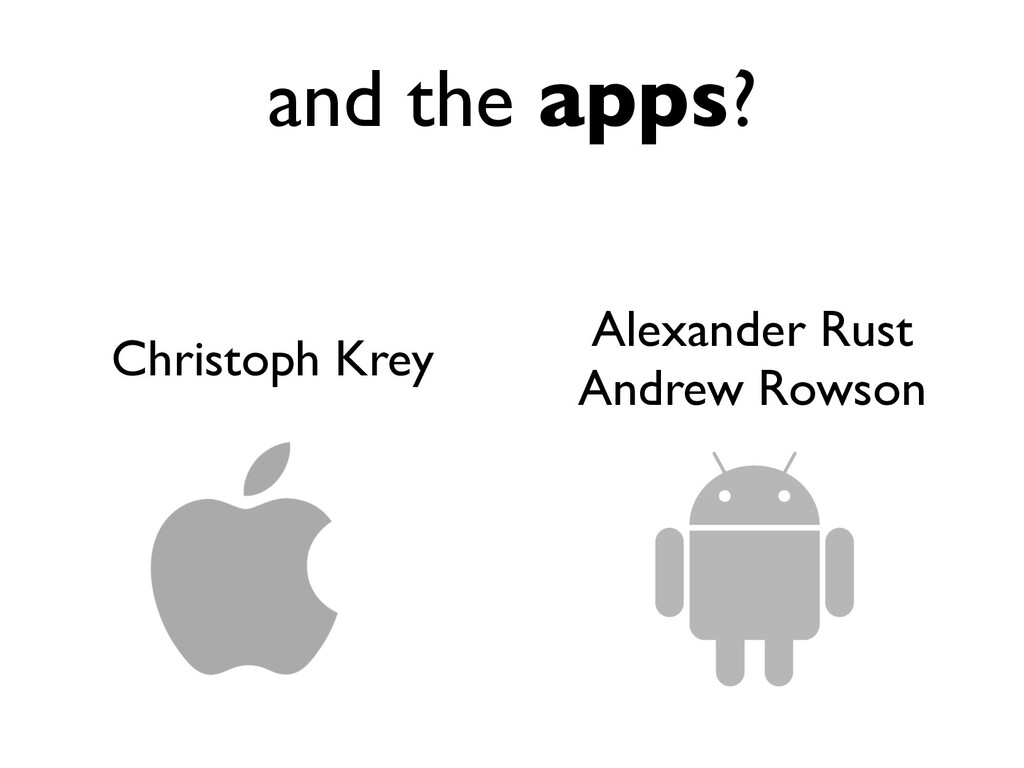 and the apps? Alexander Rust Andrew Rowson Chri...