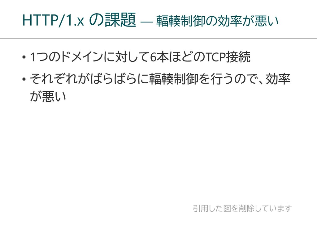 HTTP/1.x の課題 ― 輻輳制御の効率が悪い 引用した図を削除しています