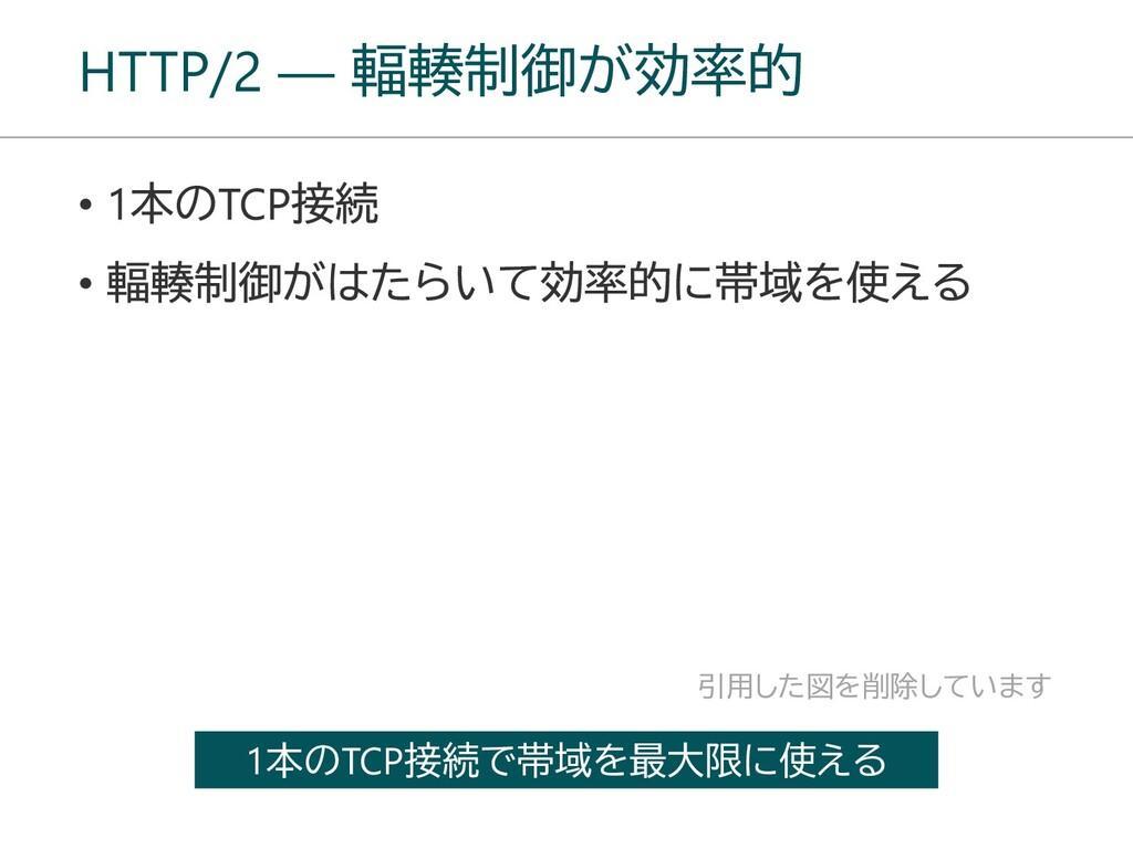 HTTP/2 ― 輻輳制御が効率的 1本のTCP接続で帯域を最大限に使える 引用した図を削除し...