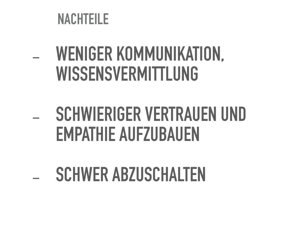 NACHTEILE - WENIGER KOMMUNIKATION, WISSENSVERMI...
