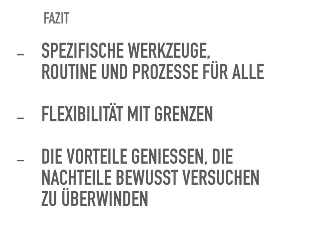 FAZIT - SPEZIFISCHE WERKZEUGE, ROUTINE UND PROZ...