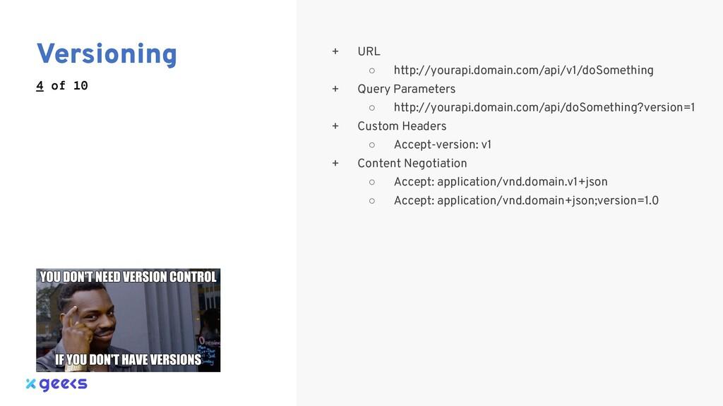Versioning 4 of 10 + URL ○ http://yourapi.domai...
