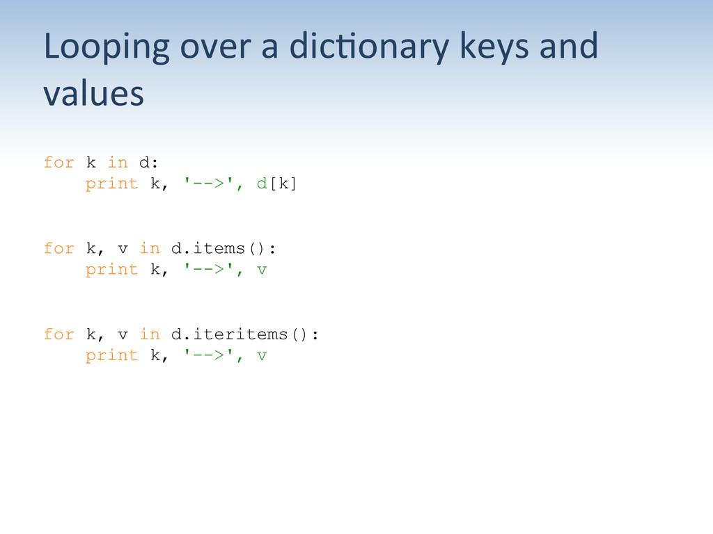 Looping over a dic:onary keys an...