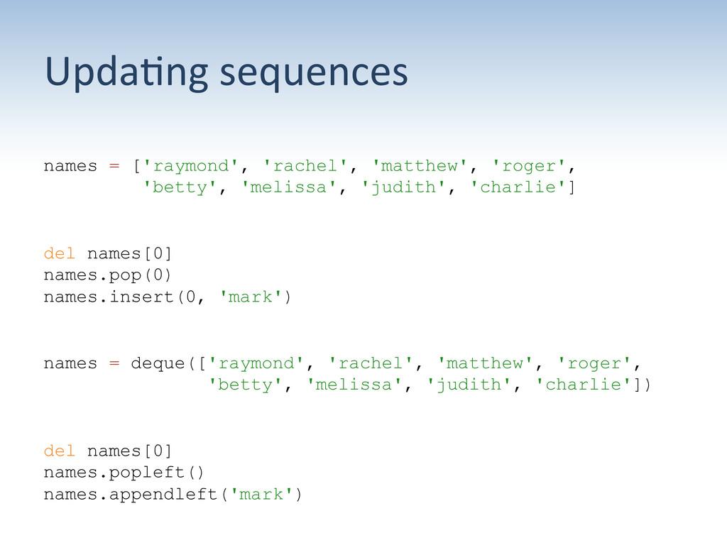 Upda:ng sequences  names = ['raymond', 'r...