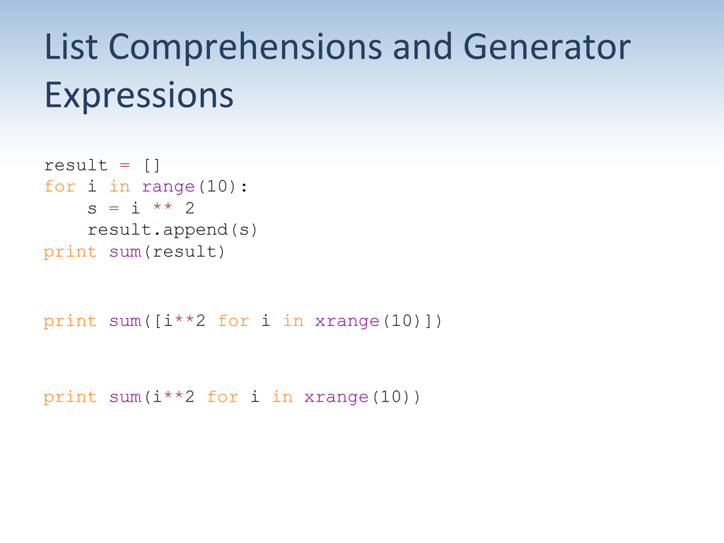 List Comprehensions and Generator  ...
