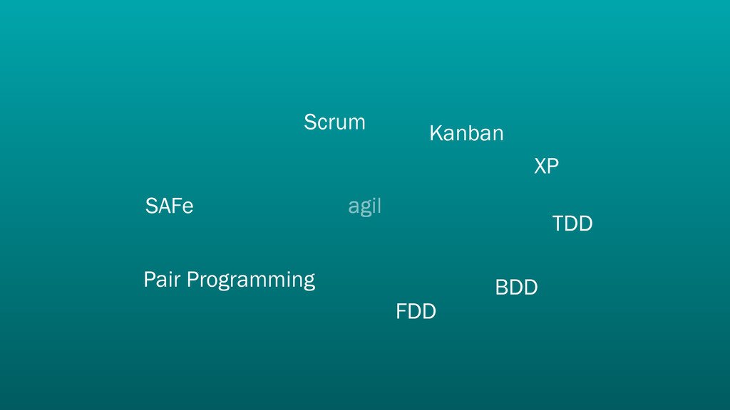 agil Scrum XP TDD Pair Programming SAFe FDD BDD...