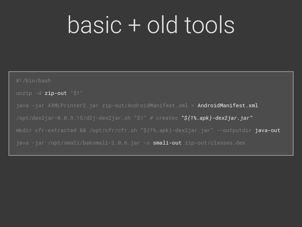 basic + old tools #!/bin/bash unzip -d zip-out...