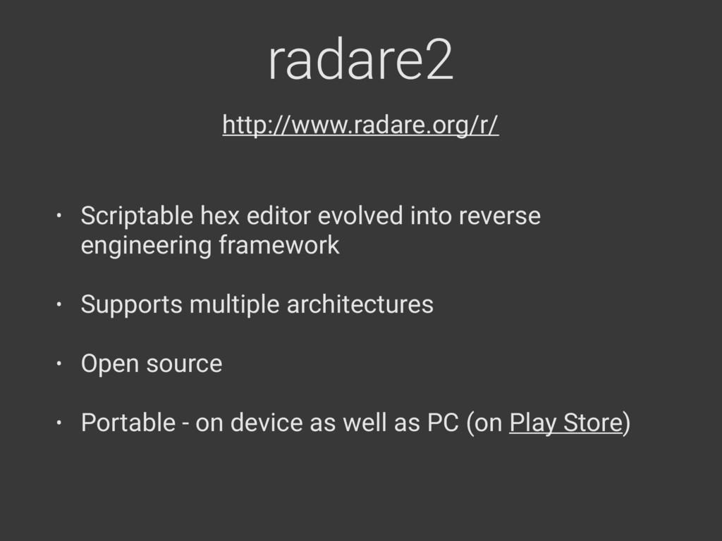 radare2 • Scriptable hex editor evolved into re...
