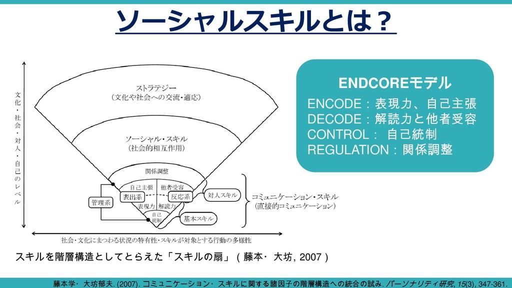 ソーシャルスキルとは? スキルを階層構造としてとらえた「スキルの扇」(藤本・大坊, 2007)...