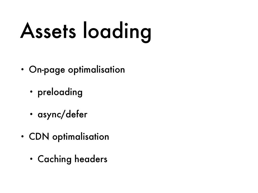 Assets loading • On-page optimalisation • prelo...