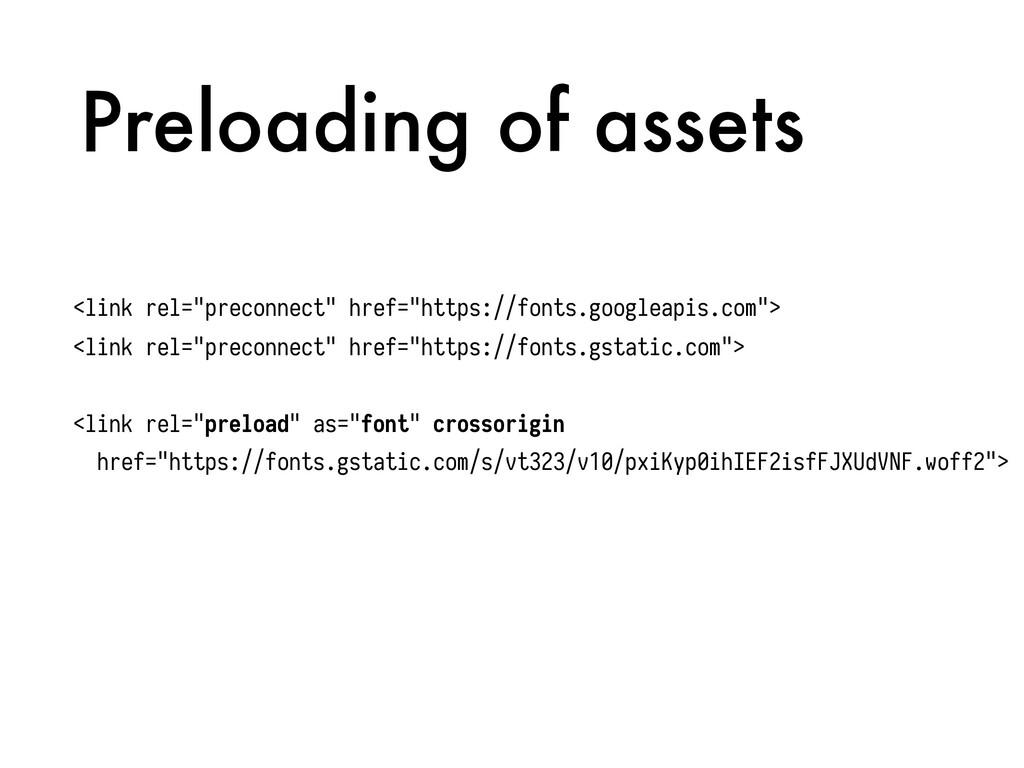 """Preloading of assets <link rel=""""preconnect"""" hre..."""