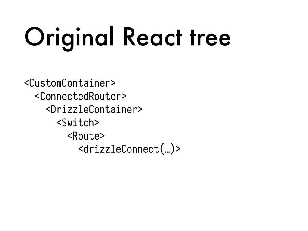 Original React tree <CustomContainer> <Connecte...