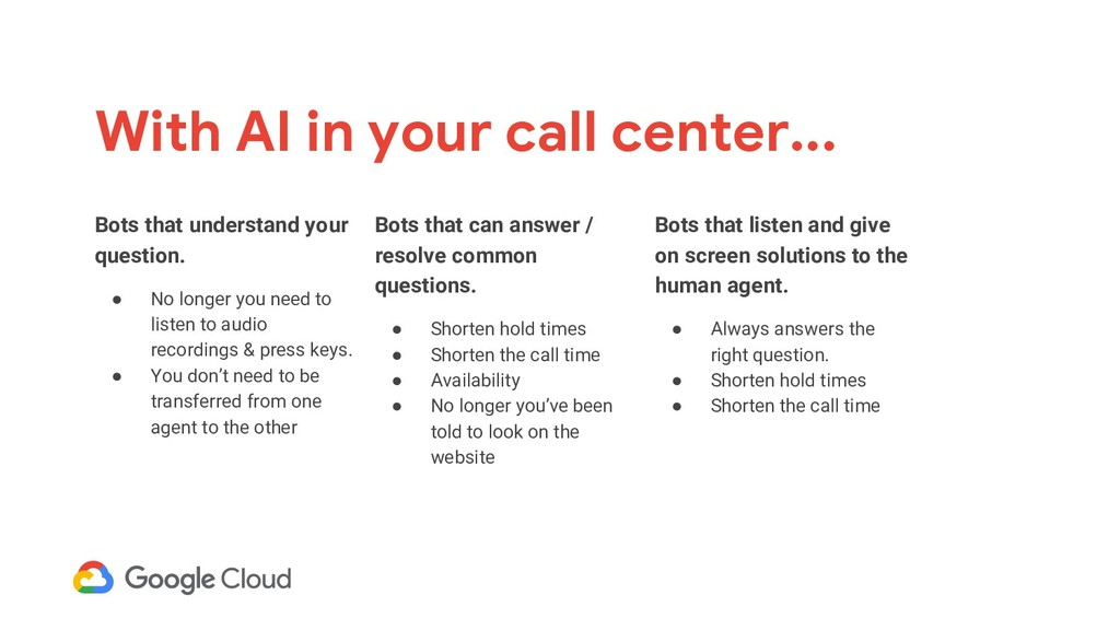 With AI in your call center... Bots that listen...