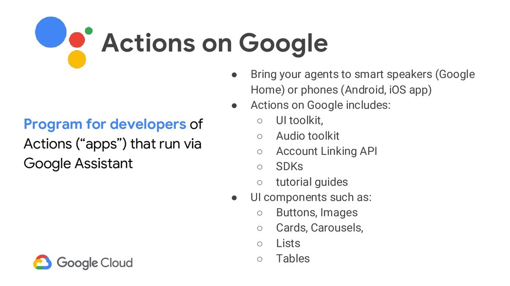 ● Bring your agents to smart speakers (Google H...