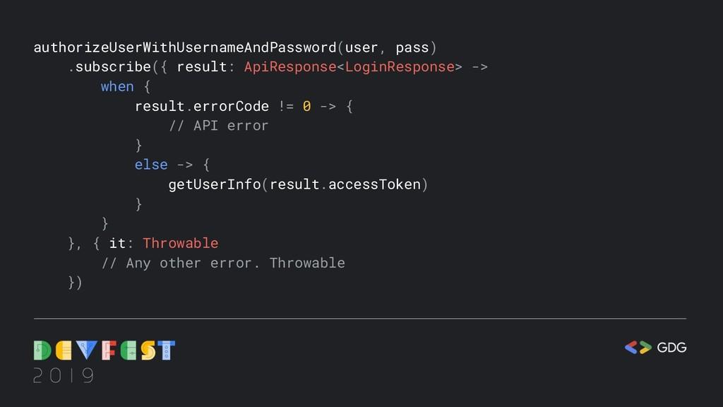 authorizeUserWithUsernameAndPassword(user, pass...
