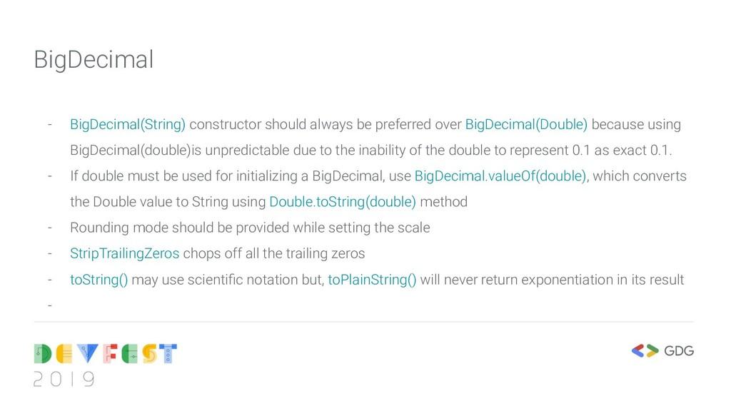 - BigDecimal(String) constructor should always ...