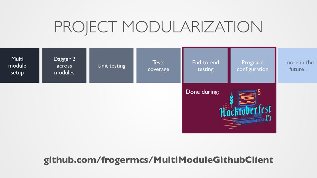PROJECT MODULARIZATION Multi module setup Dagge...