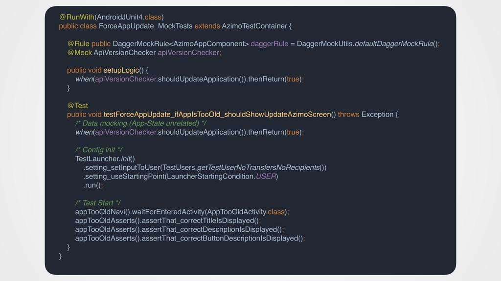 @RunWith(AndroidJUnit4.class) public class Forc...