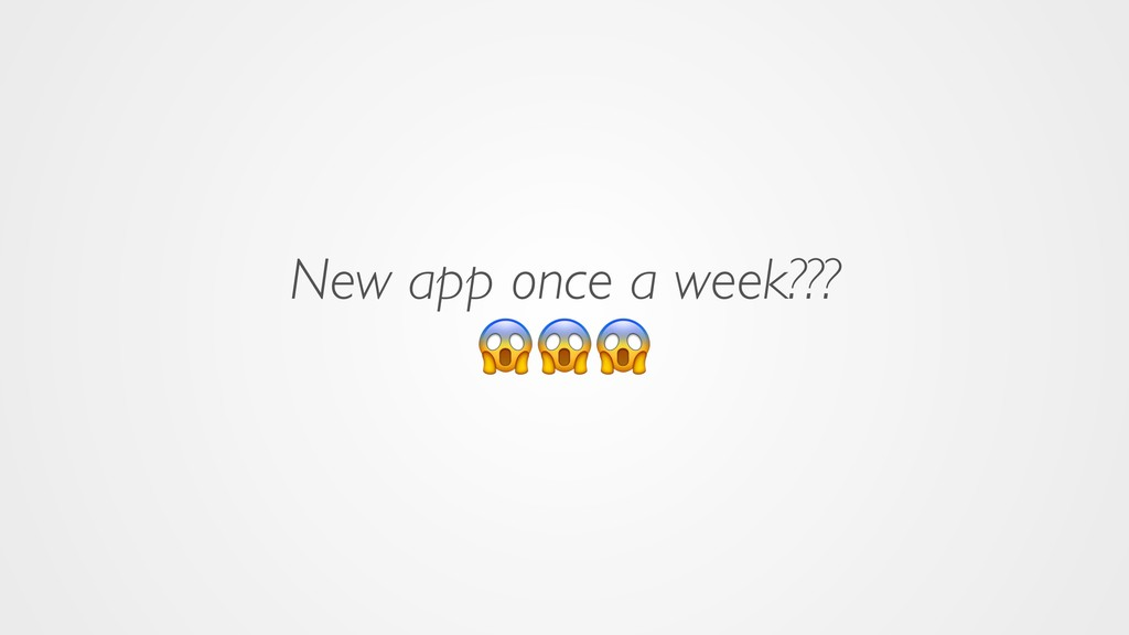 New app once a week???