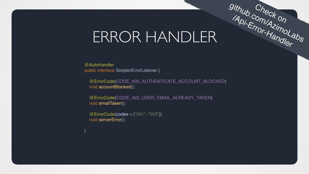 ERROR HANDLER @AutoHandler public interface Sim...