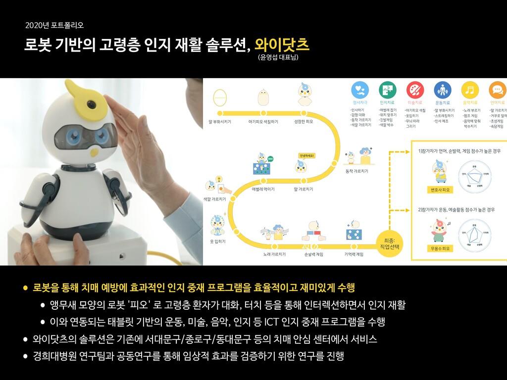 로봇 기반의 고령층 인지 재활 솔루션, 와이닷츠 (윤영섭 대표님) 2020년 포트폴리...