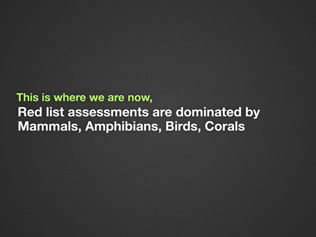 Red list assessments are dominated by Mammals, ...