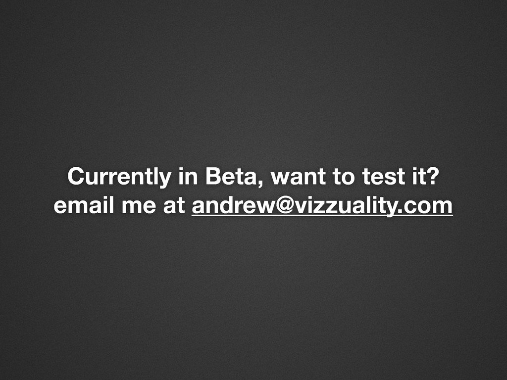 Currently in Beta, want to test it? email me at...
