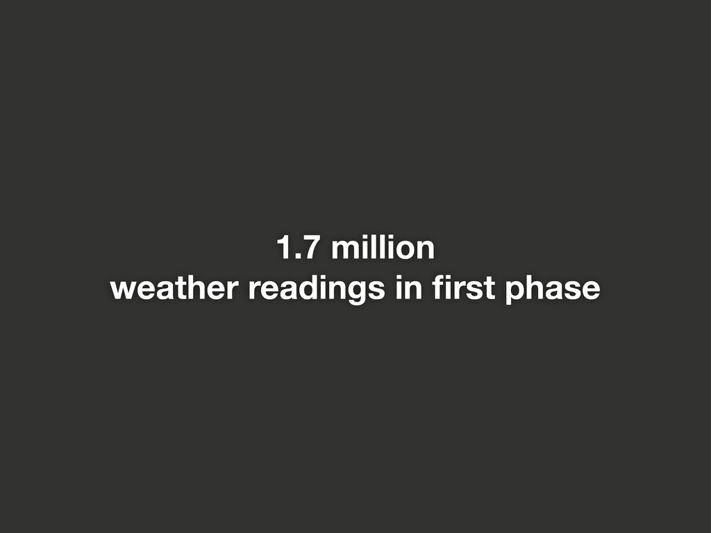 1.7 million weather readings in first phase