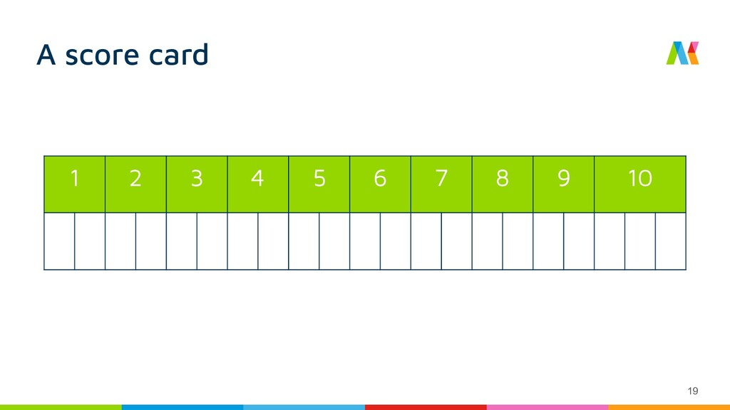 A score card 1 2 3 4 5 6 7 8 9 10 19
