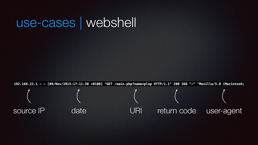 use-cases | webshell date source IP URI return ...