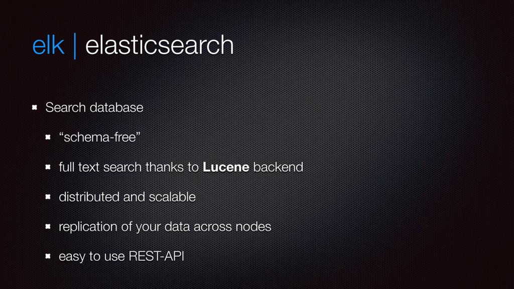 "elk | elasticsearch Search database ""schema-fre..."