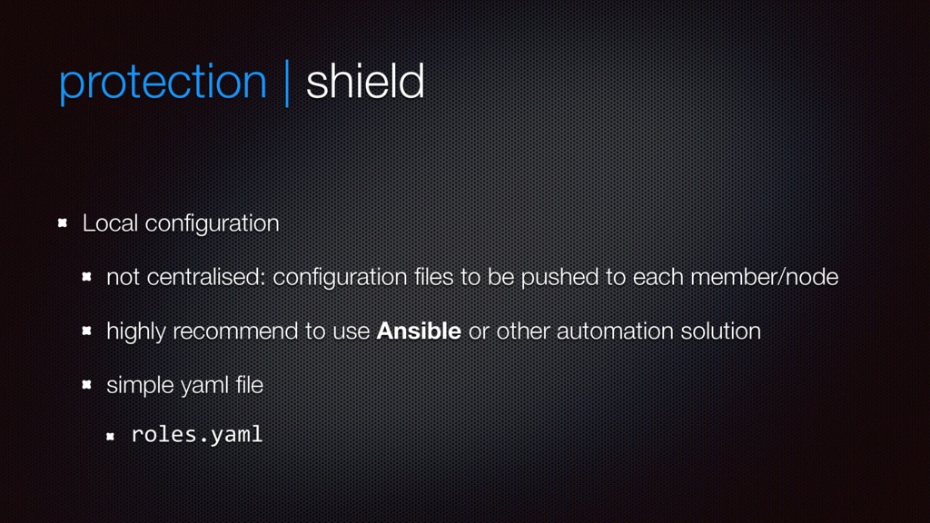 protection | shield Local configuration not cent...