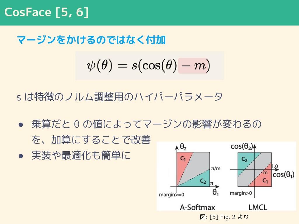 CosFace [5, 6] マージンをかけるのではなく付加 s は特徴のノルム調整用のハイパ...