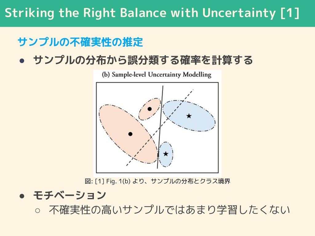 サンプルの不確実性の推定 ● サンプルの分布から誤分類する確率を計算する ● モチベーション ...